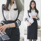 Set: Striped Long-sleeve Shirt + Suspender Skirt