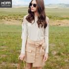 Plain Open Shoulder Long-sleeve Knit Dress