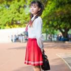 Embroidered Tie Long-sleeve Shirt / Striped Pleated Skirt