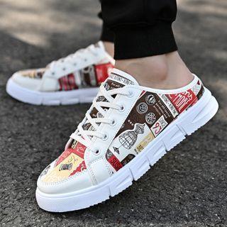 Printed Platform Lace Up Sandals