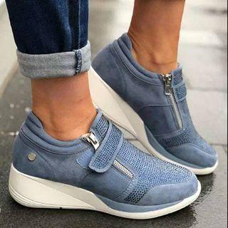 Rhinestone Wedge Heel Adhesive Strap Sneakers