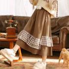Check Panel Midi Skirt