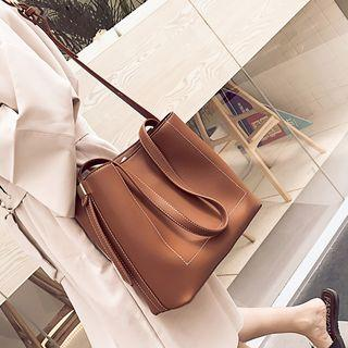 Faux Leather Stitched Tote Bag