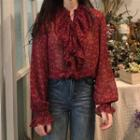 Floral Print Ruffled Long-sleeve Chiffon Blouse