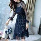 Set: Long-sleeve Sheer Dress + Spaghetti Strap Floral Print Mini Dress