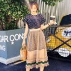 Set: Short-sleeve Floral Print Mini Dress + Sheer Midi Skirt
