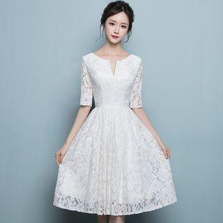 Elbow-sleeve Lace Prom Dress