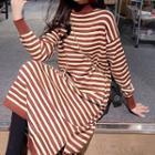 Mock Neck Striped Midi Knit Dress