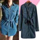 Tie-waist Denim Shirt Dress