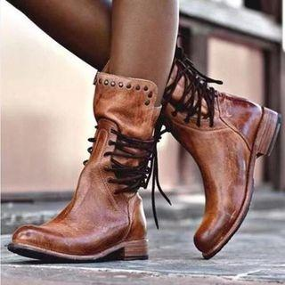 Faux Leather Studded Lace-up Back Short Boots