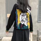 Pattern Open Front Cardigan Black - One Size
