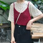 Floral Print Chiffon Blouse / Knit Camisole