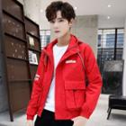 Lettering Pocketed Zip Hooded Jacket