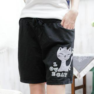 Drawstring-waist Cat-print Sweat Shorts