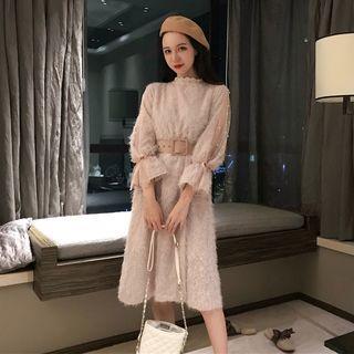 Set: Faux Pearl Long-sleeve A-line Midi Dress +belt Set - Midi Dress - Pink - One Size / Belt - Pink - One Size