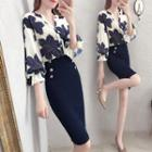 Set: Floral Blouse + Pencil Skirt