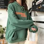 Printed Hooded Pullover Green - One Size
