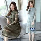 Stand-collar Long-sleeve Lace A-line Dress