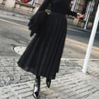 Furry Pleated Midi Skirt