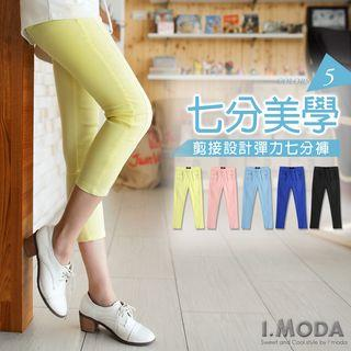Stitched Slim-fit Cropped Pants