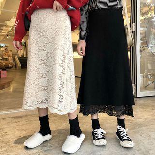 Reversible Midi Lace-overlay Knit Skirt