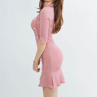 Elbow-sleeve Knit Mini Sheath Dress
