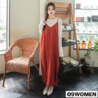 Dotted Long Pinafore Dress