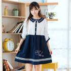 Embroidered Collared Panel Dress