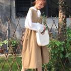 Frill Trim Long-sleeve Blouse / Plain Midi Pinafore Dress