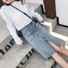 Frayed Hem Slit Denim Pencil Skirt