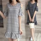 Cut Out Shoulder Striped Elbow Sleeve Dress