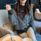 Double-breasted Houndstooth Knit Cardigan