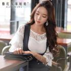 Layered-sleeve Lace Panel Top