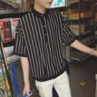 Pinstriped Short-sleeve Polo Shirt