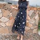 Ruffle Sleeveless Midi Chiffon Dress