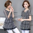 Short-sleeve Striped Chiffon Top / Elbow-sleeve Striped Chiffon Top