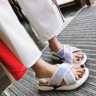 Platform Sequined Cross Sandals