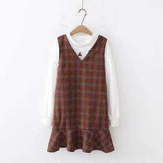Sleeveless V-neck Plaid A-line Dress Red - One Size