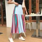 Pinstripe Chiffon Midi Skirt