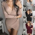 Long-sleeve Surplice Dress