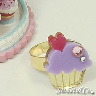 Mini Purple Cupcake Crystal Gold Ring