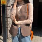 Buttoned Herringbone Vest