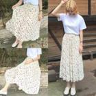 Floral Print Elastic-waist Chiffon Midi Skirt