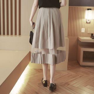 Sheer Panel Pleated Midi Skirt