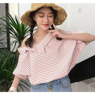 Striped 3/4 Sleeve Mock Two-piece Top