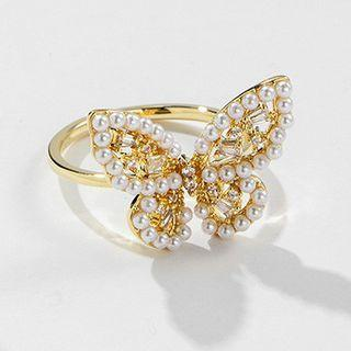 Faux Pearl Butterfly Ring Gold - One Size