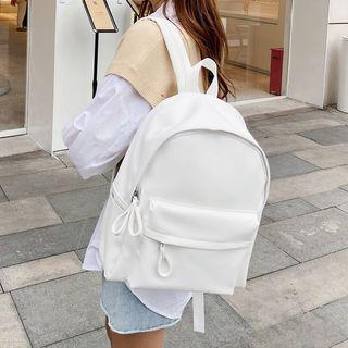 Plain Zip Backpack White - One Size