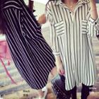 3/4-sleeve Striped Midi Shirt Dress