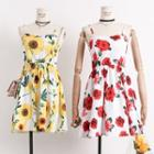 Flower-print Sleeveless A-line Dress