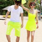 Couple Shirred Swimdress / Swim Shorts